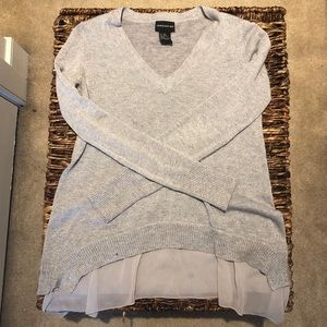Shimmery Grey sweater with sheer underlay